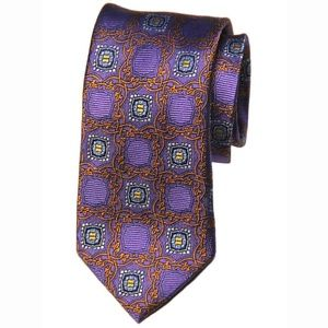 New Jos A Bank Tie Silk Orange Purple Men's